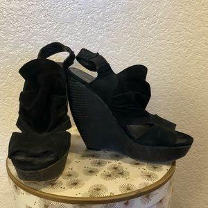 Joe's Jeans Black Suede Platform Wedges
